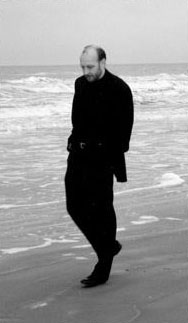 Composer Robert Avalon walks on the beach in 1993. Photo by ???